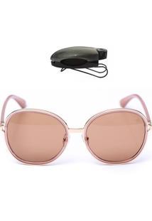 Óculos Redondo De Sol Com Porta Oculos De Brinde Selten Marrom