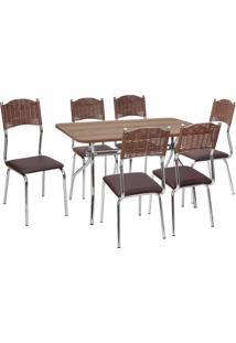 Conjunto Mesa + 6 Cadeiras Fil Flavia, Cromado E Nogueira