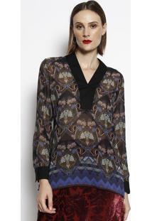 Blusa Floral Translãºcida- Preta & Azul Escuro- Cottocotton Colors Extra