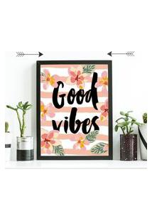 Quadro Decorativo Good Vibes Preto - 20X30Cm