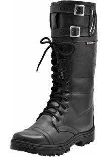 Bota Cano Alto Em Couro Atron Shoes Preto