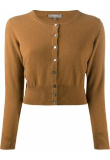 N.Peal Cropped Cashmere Cardigan - Marrom