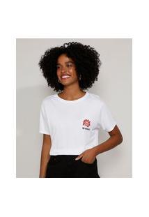 "Camiseta Feminina Be Brave"" Com Tigre Manga Curta Decote Redondo Branca"""