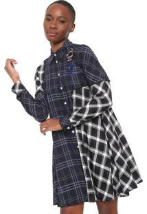 Vestido Chemisse Desigual Curto Fressia Azul/Preto