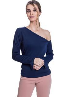 Blusa Carbella Comprida Um Ombro Só Manga Sino Creponada Azul Marinho