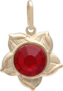 Pingente Prata Mil Flor Com Pedra Chaton Vermelha - Dourado - Feminino - Dafiti