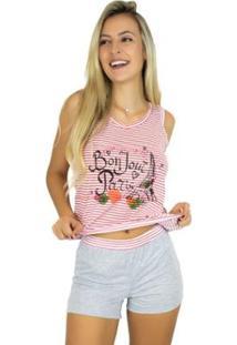 Pijama Mvb Modas Estampado Shortdoll Feminino - Feminino-Vermelho