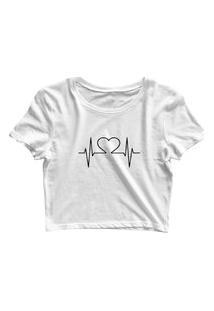 Blusa Blusinha Feminina Cropped Tshirt Camiseta Batimentos Branco