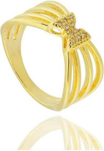 Anel Aros Laço Zircônia Semi Joia - Feminino-Dourado