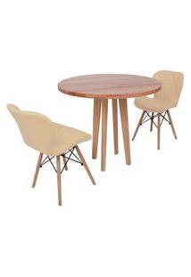 Conjunto Mesa De Jantar Em Madeira 90Cm Com Base Vértice + 2 Cadeiras Slim - Nude