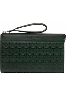 Salvatore Ferragamo Gancini-Embossed Clutch Bag - Verde