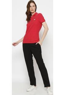 Polo Slim Fit Texturizada- Vermelha & Branca- Lacostlacoste