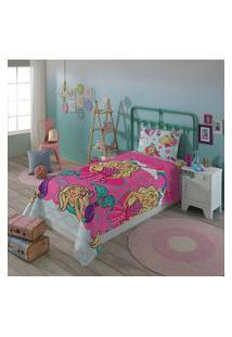 Jogo De Cama Infantil Solteiro Lepper Barbie Reinos Mágicos 3 Peças Rosa