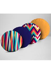 Kit 4 Almofadas Redondas Elementos Multicolorido