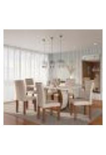 Conjunto De Mesa De Jantar Com 6 Cadeiras Estofadas Emily I Veludo Off White E Creme