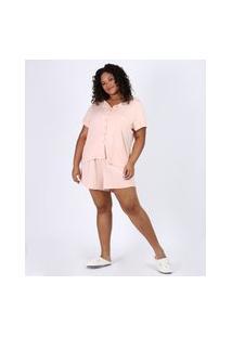 Pijama Feminino Plus Size Camisa Com Vivo Contrastante E Bolso Manga Curta Rosa Claro
