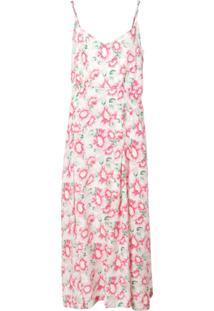 Les Rêveries Vestido De Seda Com Estampa Floral E Fenda - Rosa