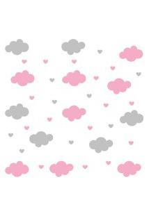 Adesivo De Parede Infantil Quartinhos Nuvens E Corações Colorido