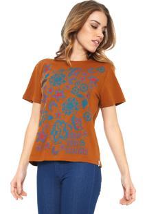 Camiseta Cantão Estampada Caramelo