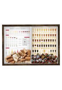 Quadro Caixa Porta Rolha Vinho E Tampinha Cerveja (2 Em 1) 33X43 Cm Nerderia E Lojaria Wine Guide E Beer 101 Madeira