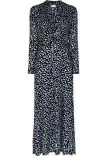 Rixo Vestido Longo Anja Com Estampa De Leopardo - Preto