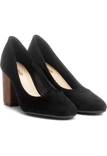 Sapato Azaleia Salto Estruturado - Feminino-Preto+Bronze