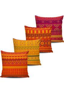 Kit 4 Capas Almofadas Tribal Tons Amarelo Laranja Pink 45X45 - Tricae