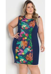 Vestido Bicolor Marinho E Floral Plus Size