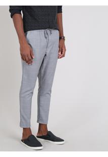 Calça Masculina Estampada Quadriculada Chino Slim Cropped Quadriculado Cinza Mescla