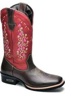 Bota Top Franca Shoes Texana - Feminino-Marrom+Vermelho