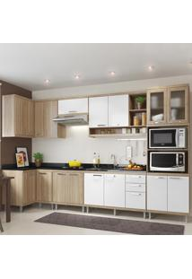 Cozinha Completa Sicília 15 Portas 3 Gavetas Para Pia Branco/Argila - Multimóveis