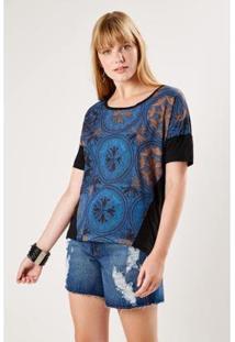 Camiseta Malha Est Sahara Sacada Feminina - Feminino-Azul Escuro
