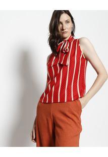 Blusa Com Amarraã§Ã£O- Vermelha & Bege- Moisellemoisele