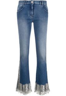 Balmain Calça Jeans Flare Com Cintura Baixa - Azul