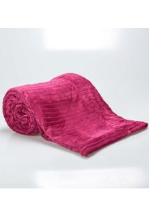 Cobertor Solteiro 1,60X2,20M Canelado Fucsia