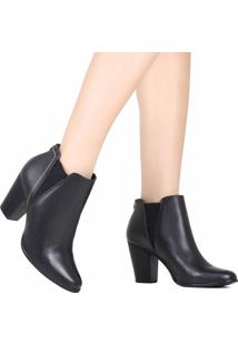 Bota Ankle Boot Jorge Bischoff Chelsea Couro Preto