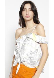 Blusa Cropped Floral Com Amarraã§Ã£O - Off White & Cinzacalvin Klein
