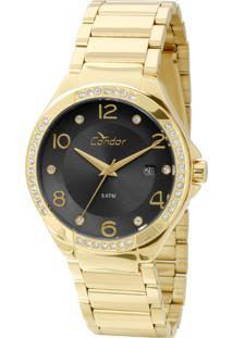 fd15677fa34 Okulos. Relógio Feminino Condor Analógico Com Cristais Swarovski  Co2115sv 4p Dourado
