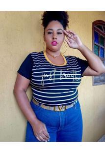 Blusa Plus Size Listrada Preto