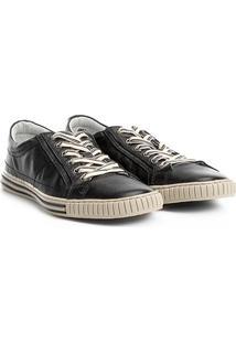 Sapatênis Couro Shoestock Listras Masculino - Masculino-Preto