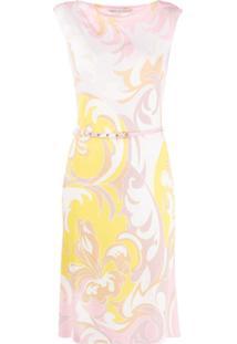 Emilio Pucci Vestido Com Cinto E Estampa Dinamica - Amarelo