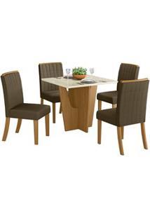 Sala De Jantar Mesa Quadrada Vértice 90Cm Com 4 Cadeiras Tauá Nature/O