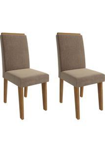 Conjunto Com 2 Cadeiras De Jantar Milena Suede Savana E Pluma