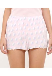 Short De Pijama Estampa Poá Bicolor