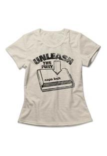 Camiseta Feminina Caps Lock Bege