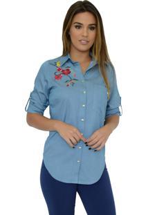 Camisa Mamorena Bordada Barra Arredondada Azul Jeans