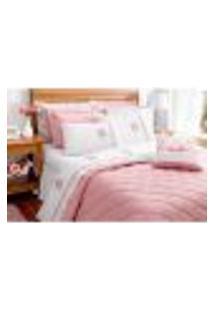 Kit Cobre Leito Queen Size Athena Rosê Clássico 7 Peças Com Porta Travesseiros E Almofada Decorativa