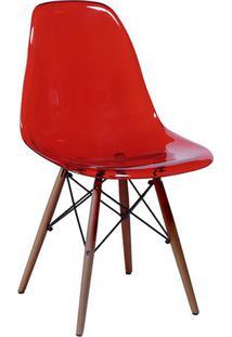 Cadeira Eames Dkr- Vermelha & Marrom- 80,5X46,5X42Cmor Design