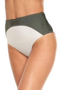 Calcinha Salinas Hot Pant Recortes Verde/Off-White