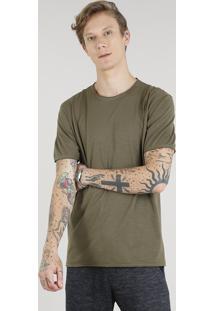 Camiseta Masculina Manga Curta Gola Careca Verde Militar